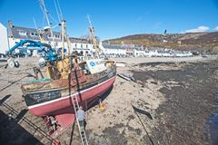 Free Spring Cleaning Fishing Boat At Ullapool Stock Photos - 106236483