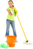 Spring Cleaning Girl Child Mop Bucket Smile Royalty Free Stock Photos