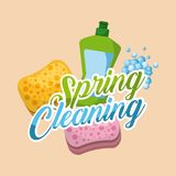 Spring cleaning green plastic bottle and sponge bubbles. Vector illustration Stock Photography