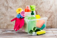 Spring cleaning of house. Cleaning supplies set. On wooden background. Copy space Stock Photography