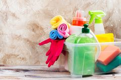 Spring cleaning of house. Cleaning supplies set. On wooden background. Copy space Royalty Free Stock Images