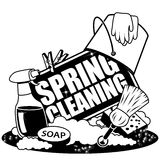 Spring Cleaning Icon in black and white stock illustration