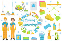 Spring Cleaning icons, flat style. Housekeeping frame with tools isolated on white background. Vector illustration. Royalty Free Stock Photos