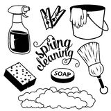 Spring Cleaning items in black and white royalty free illustration