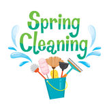 Spring Cleaning Letter Decorating And Cleaning Equipment. Housework Appliance Domestic Tools Computer Icon Cleaning Symbol Icon Set Spring Season Stock Image