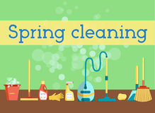 Spring cleaning minimal and colorful flat vector graphics for web site, poster, banner, flier or print. Set of cleaning tools and Royalty Free Stock Photography