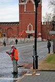 Spring cleaning in Moscow Kremlin. Color photo. Royalty Free Stock Photography