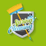 Spring cleaning poster with broom shield emblem clean bubbles stock illustration