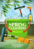 Spring Cleaning Poster. With green branch behind window brush at glass bucket mop and gloves vector illustration Stock Images