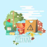Spring cleaning poster. Cleaning service 24 hours vector illustration in modern flat design. Cleaning service 24 hours vector illustration in modern flat design Royalty Free Stock Photography