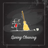 Spring Cleaning. Seasonal background vector illustration design, kids having fun. Poster with typography, lettering Royalty Free Stock Images