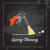 Spring Cleaning. Seasonal background vector illustration design, kids having fun. Poster with typography, lettering Royalty Free Stock Photo