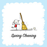 Spring Cleaning. Seasonal background vector illustration design, kids having fun. Poster with typography, lettering Stock Image