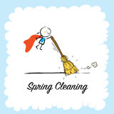 Spring Cleaning. Seasonal background vector illustration design, kids having fun. Poster with typography, lettering Stock Photos
