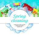 Spring cleaning service concept. Tools for cleanliness and disinfection. Soap bubbles frame. Vector vector illustration
