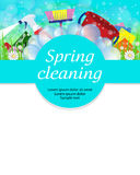 Spring cleaning service concept. Tools for cleanliness and disin. Fection. Vector illustration Stock Photos
