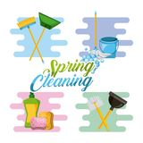 Spring cleaning service tools for cleanliness and disinfection. Vector illustration Stock Images