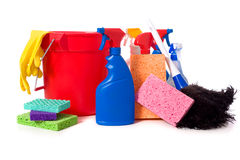 Spring Cleaning Supplies Royalty Free Stock Photography
