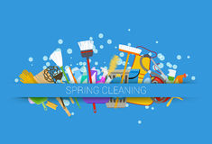 Spring cleaning supplies blue background. tools of housecleaning stock illustration