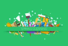 Spring cleaning supplies Stock Images