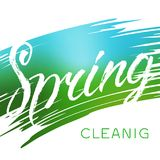 Spring cleaning text. Stock vector brush lettering. Aabstract color background Stock Photo