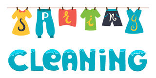 Spring cleaning. Vector banner illustration. Wash the clothes drying on the clothesline. Royalty Free Stock Photography