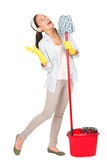 Spring cleaning woman singing fun stock photos