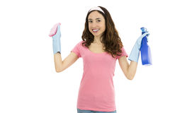 Spring cleaning woman with a sponge and spray detergent Royalty Free Stock Image