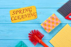 Spring cleaning wooden background. Royalty Free Stock Photography