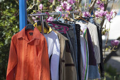 Spring clothes garage sale Royalty Free Stock Images