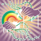 Spring cloud vector. There are clouds on a rainbow Royalty Free Stock Image