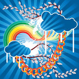Spring cloud vector. There are clouds and rainbow on a blue sky Royalty Free Stock Photo