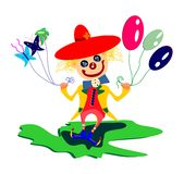 Spring clown concept. A funny clown holding in his hands balloons, two butterflies and a flower is smiling to the entire world. The colors are vivid and strong Royalty Free Stock Photography