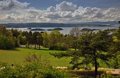 Spring coast and islands in the Oslo fjord royalty free stock image