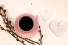 Spring coffe wallpaper with decoration stock image