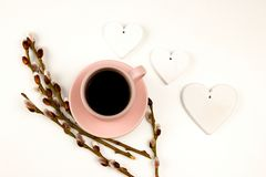 Spring coffe wallpaper with flower and white hearts stock photo