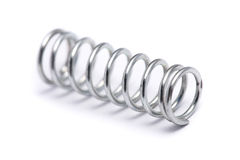Spring Coil. Close up of a spring coil on white background Royalty Free Stock Images