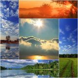Spring collage. Of colourful landscapes Stock Photography