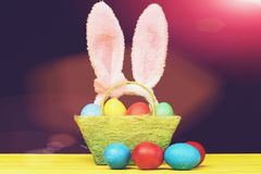 Spring and color blend. Easter eggs Spring and color blend: Easter pink bunny ears and green basket with Easter eggs painted in bright colors with red and blue royalty free stock photo
