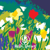 Spring color flowers abstract card. Royalty Free Stock Photo
