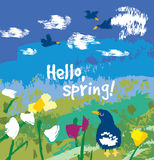 Spring color flowers and birds sign card. Royalty Free Stock Images