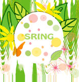 Spring. Colored ticket with flowers  and butterfly Royalty Free Stock Photography