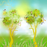 Spring. Colored ticket with trees and grass Royalty Free Stock Photo