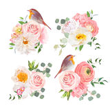 Spring colorful bouquets and cute robin birds vector design objects. Peachy roses, dahlia, carnation, orchid and ranunculus flowers in japanese style. All Royalty Free Stock Image