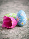 Spring Colorful Easter Eggs and Pink Tulip Royalty Free Stock Photos