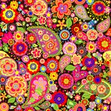 Spring colorful floral wallpaper with mankolam Royalty Free Stock Photography