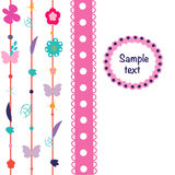 Spring colorful flowers, butterfly greeting card vector Royalty Free Stock Images