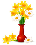 Spring colorful flowers in a vase with Easter eggs Royalty Free Stock Photography