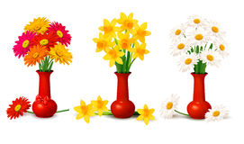 Spring colorful flowers in vases  Vector illustrat Royalty Free Stock Image