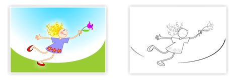 Spring coloring for kids. Little girl with a flower. Child's drawing. Royalty Free Stock Image